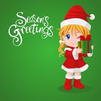 Санта девушка держит подарочную коробку