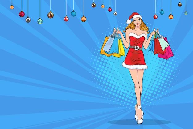Santa girl holding shopping bags in retro vintage pop art comic style