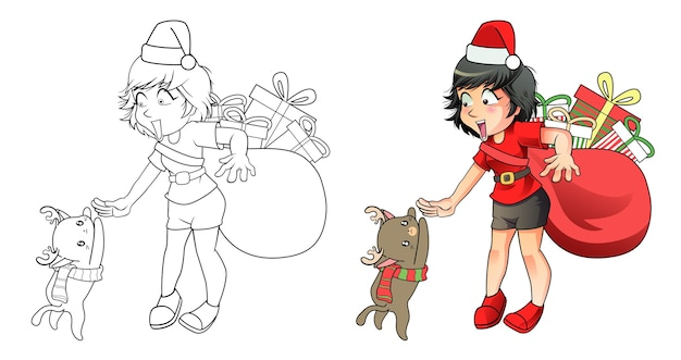 Santa girl and reindeer cat cartoon easily coloring page for kids