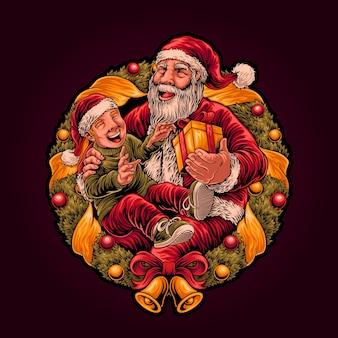 サンタは男の子にクリスマスプレゼントのイラストを贈る
