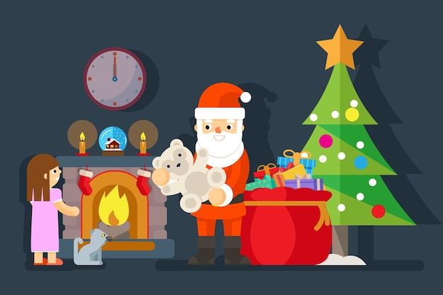 Santa gives gift to little girl near fireplace. teddy bear and tree xmas, present for child, vector illustration