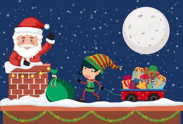 Santa giving gift by chimney
