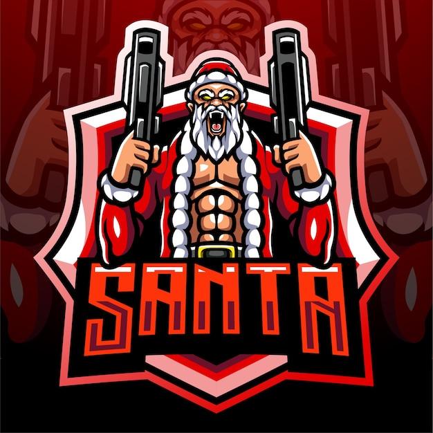 サンタの砲手マスコット。 eスポーツロゴデザイン