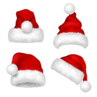 Шляпа санты. красная бархатная рождественская традиционная шляпа санта-клауса с изолированной меховой коллекцией