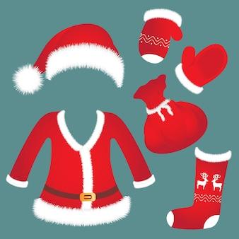 サンタの帽子、スーツ、ミトン、靴下、バッグ。お正月アクセサリー。