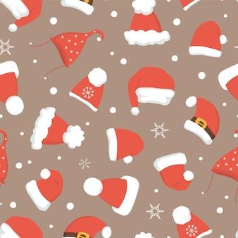サンタはシームレスなクリスマスパターンを帽子します。