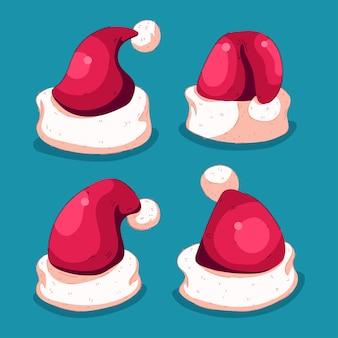 산타 모자 벡터 만화 세트 배경에 고립입니다.