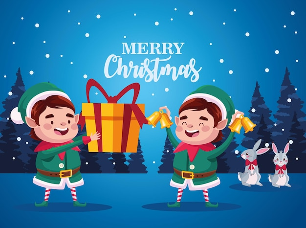 Santa helpers couple lifting gift and bells characters illustration