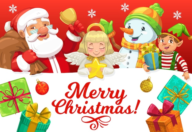 Santa and helpers with christmas gifts greeting card of xmas winter holiday.