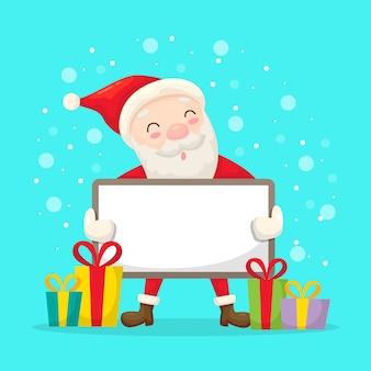 Santa holding a blank banner for christmas