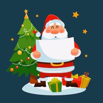Санта держит пустой баннер