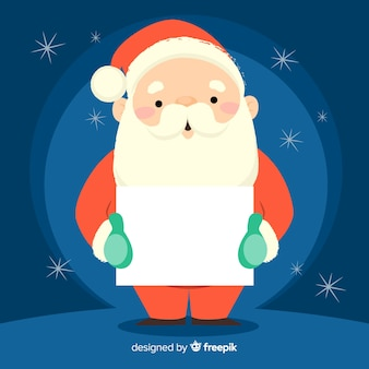 Santa holding blank sign background