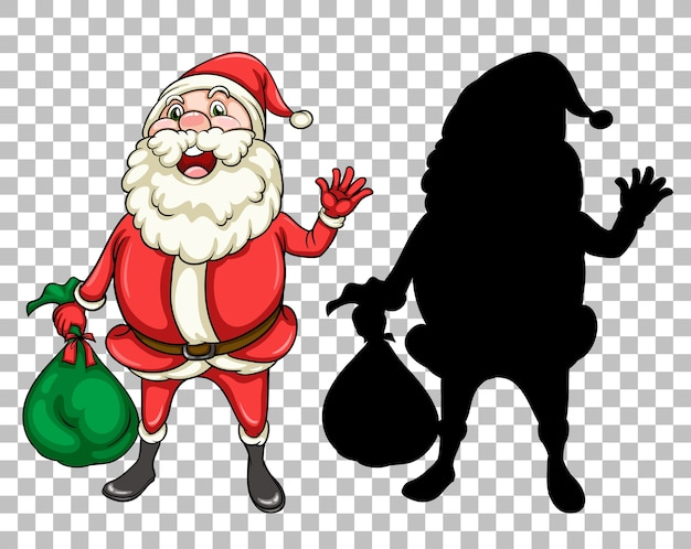 サンタがギフトバッグを持っています