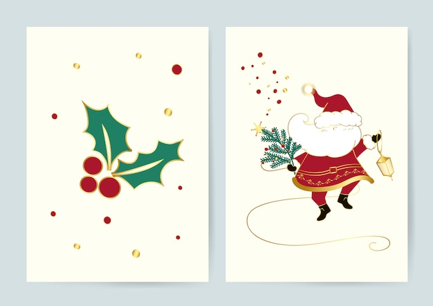Santa and holly leaves christmas cards vector