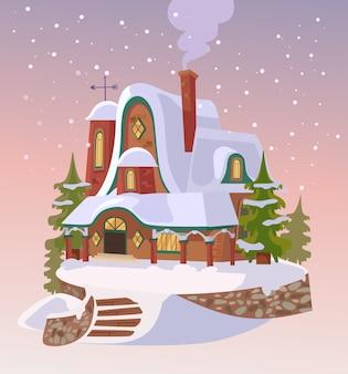 サンタの家。明けましておめでとうございます。クリスマスの降雪。フラット漫画イラスト