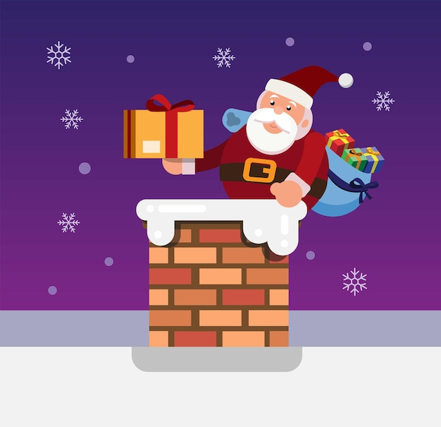 Санта в дымоходе с подарочным пакетом рождественский и новогодний сезон иллюстрации вектор