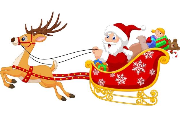 彼のクリスマスソリのサンタはトナカイに引っ張られている