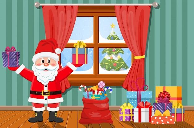 プレゼント付きの部屋のサンタ。