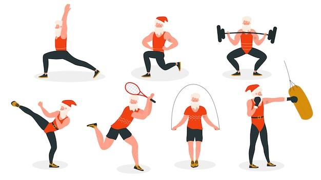 Санта в спорте здоровая деятельность векторные иллюстрации, мультяшный плоский активный бородатый санта в рождественской красной шляпе и костюм спортсмена, занимающийся спортом или упражнениями йоги