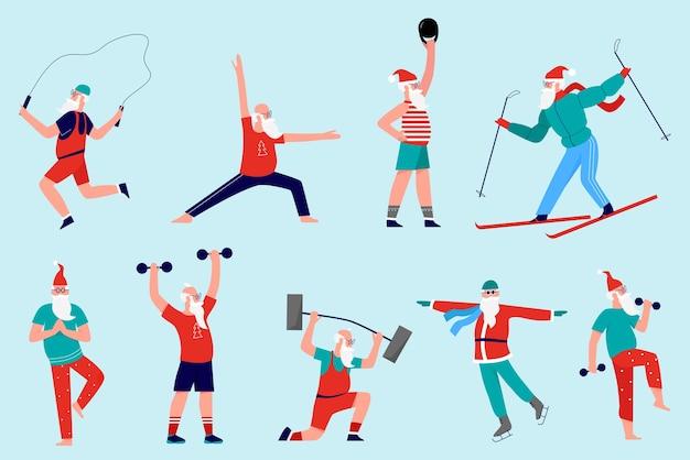 Санта на спортивной тренировке делает упражнения в тренажерном зале со штангой гантелей, стоя в позах медитации йоги