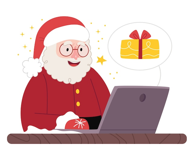 Santa is looking for gifts on the internet.