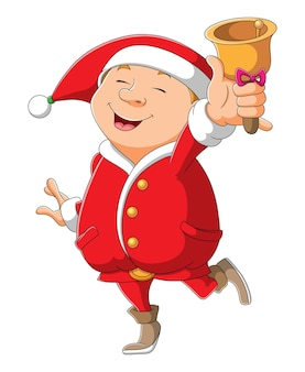 The santa is ringing the bell on xmas of illustration
