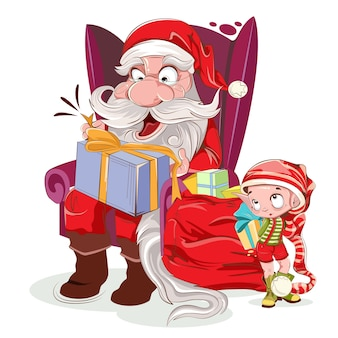 Santa is sitting in chair with present