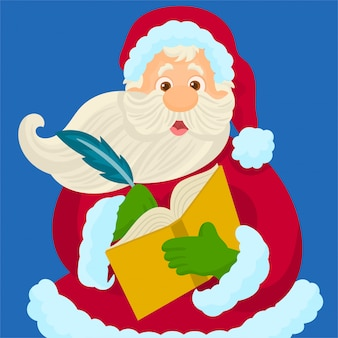 Santa is writing with a pen in notebook a wish list