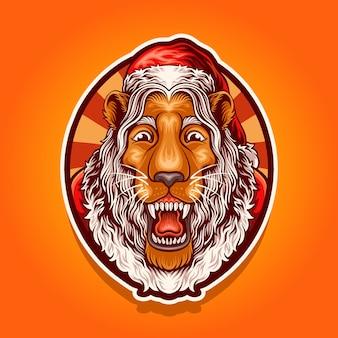 サンタライオンのマスコットイラスト