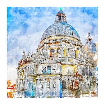 산타 마리아 델라 경례 베네치아 이탈리아 수채화 스케치 손으로 그린 그림