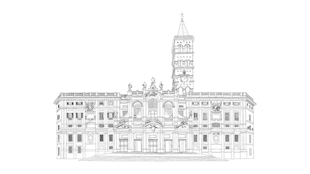 Santa maria maggiore, basilica of saint mary major cathedral in rome, black and white drawing sketch. illustration.