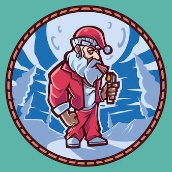 산타 마스코트 로고