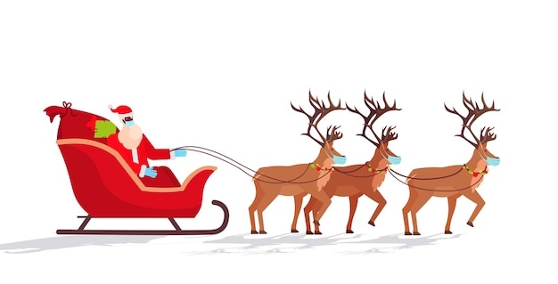 Santa in mask riding sledge with reindeers happy new year merry christmas holidays celebration concept horizontal  illustration