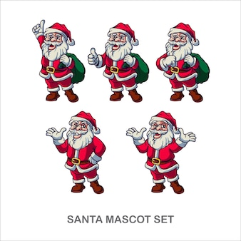 Santa merry christmas mascot set