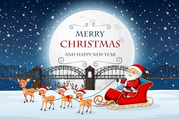 Santa on merry christmas template