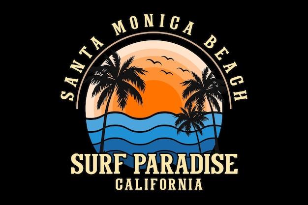 Santa monica beach california silhouette design retro style
