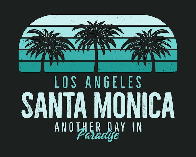 Santa monica beach graphic for tshirt, prints. vintage los angeles hand drawn 90s style emblem.
