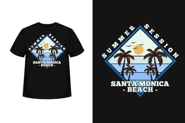 サンタモニカ ビーチ グッズ シルエット t シャツ デザイン