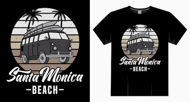 Santa monica beach typography with van and palm t shirt