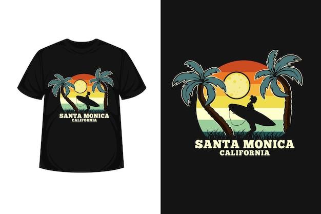 Santa monica california merchandise silhouette  t-shirt design