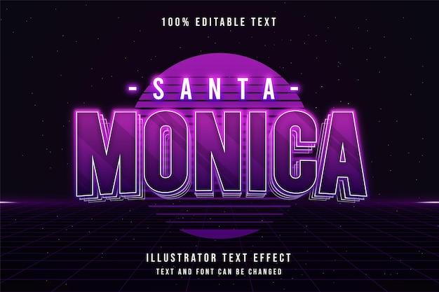 紫のグラデーションでサンタモニカの編集可能なテキスト効果