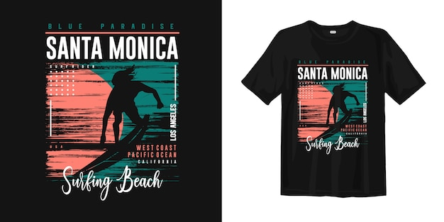 Santa monica surfing beach, los angeles graphic t-shirt apparel with surf rider silhouettes