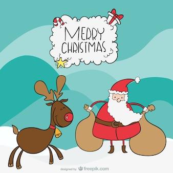 Santa e alce cartone animato