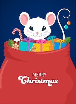 산타 마우스, 구정 및 메리 크리스마스 컨셉 디자인. 플랫 스타일의 벡터 일러스트 레이션