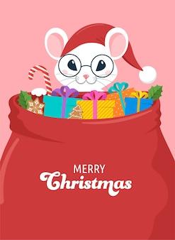 산타 마우스, 구정 및 메리 크리스마스 개념.