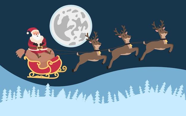 Санта на санях с оленями летит по небу на фоне луны. рождественский и новогодний дизайн.