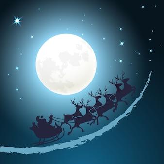 そりのクリスマスの背景にサンタがきらめく星と満月の前の夕暮れの青い空を駆け抜けるベクトルカードデザイン正方形フォーマット