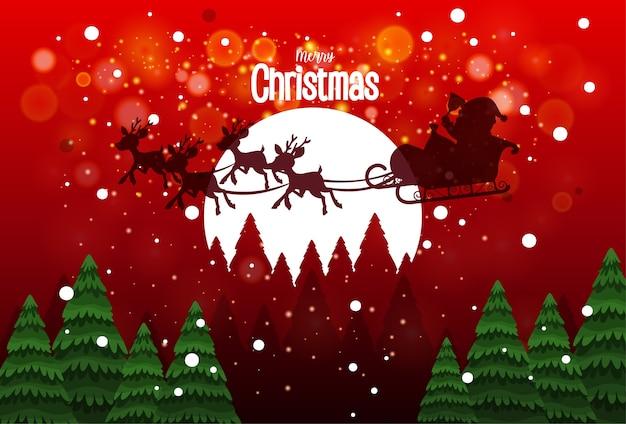 사슴 배달 선물로 썰매에 산타