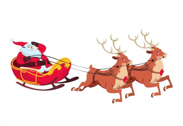 トナカイとそりでサンタ。グリーティングカードのクリスマス漫画のキャラクター。孤立した図