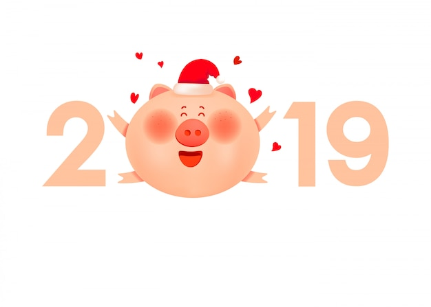 Santa pig with numbers 2019. symbol of new year holiday.